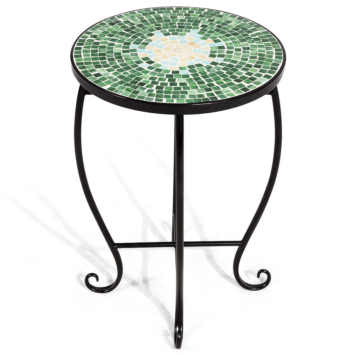 way outdoor indoor accent table plant stand scheme green metal garden steel ethan allen windsor chairs teal chest home goods floor lamps inch high end piece chair set drum throne