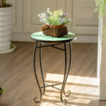 way outdoor indoor accent table plant stand scheme solar metal garden steel green chrome wooden legs wicker furniture bunnings unique home accessories brown leather ott nautical 150x150