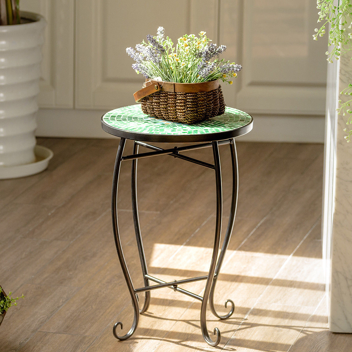 way outdoor indoor accent table plant stand scheme solar metal garden steel green chrome wooden legs wicker furniture bunnings unique home accessories brown leather ott nautical