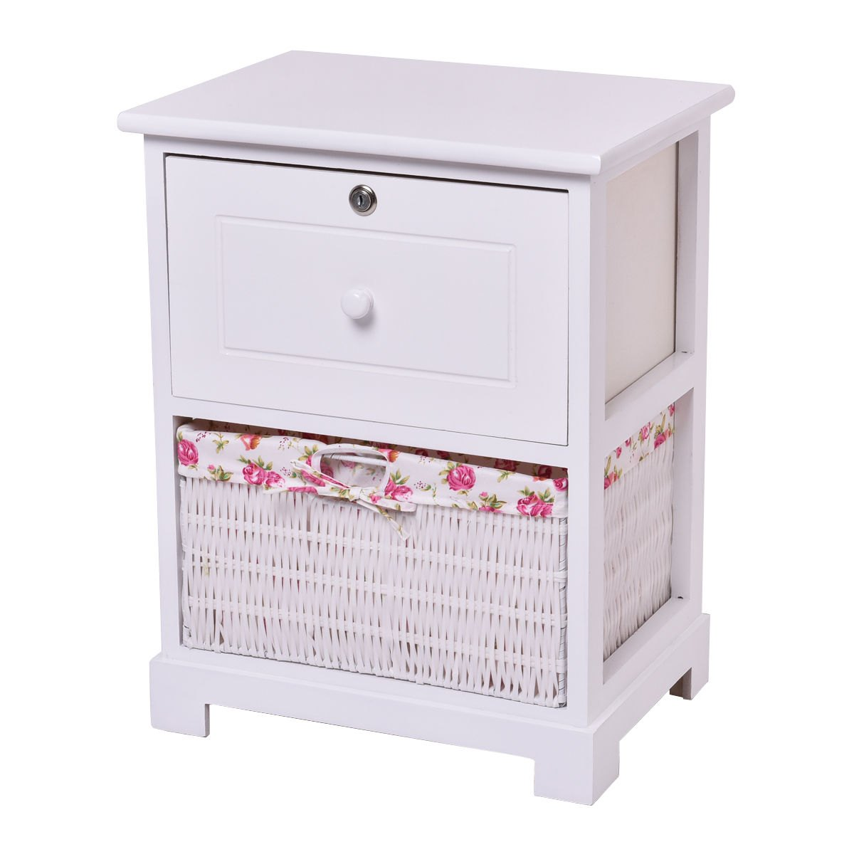 way white end side accent table night stand locked with basket drawers drawer wooden garden ikea lack coffee small armchairs for spaces plant pedestal round black glass marble set