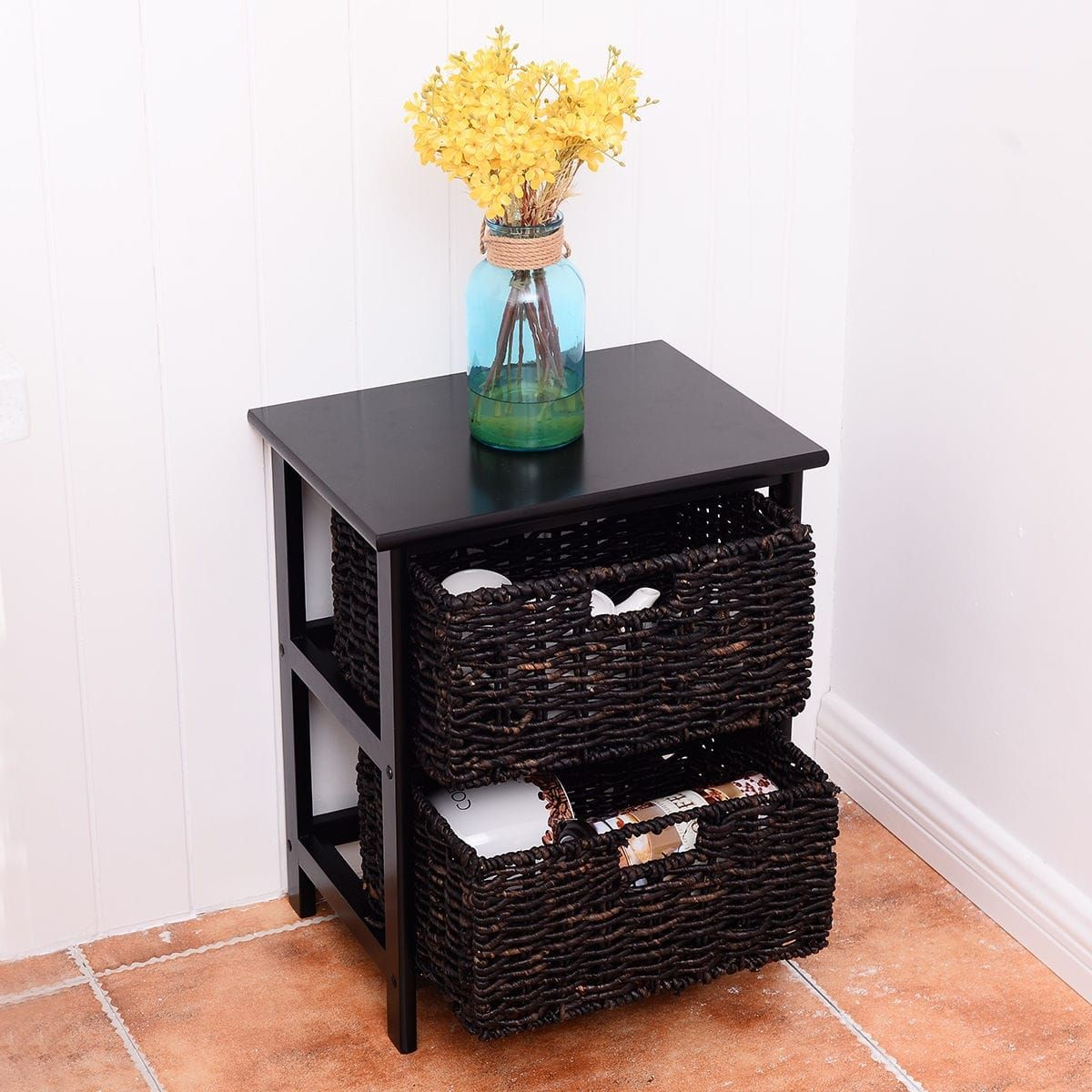 way wood end accent table home furniture living room night stand with baskets storage lamps usb coffee and chairs copy led bedside lamp beach cottage decor tall tables drawers