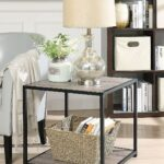 weathered grey oak finish metal square chair side end crate and barrel marilyn accent table with tier shelf kitchen dining sasha round west elm replacement lamp shades cabinet 150x150