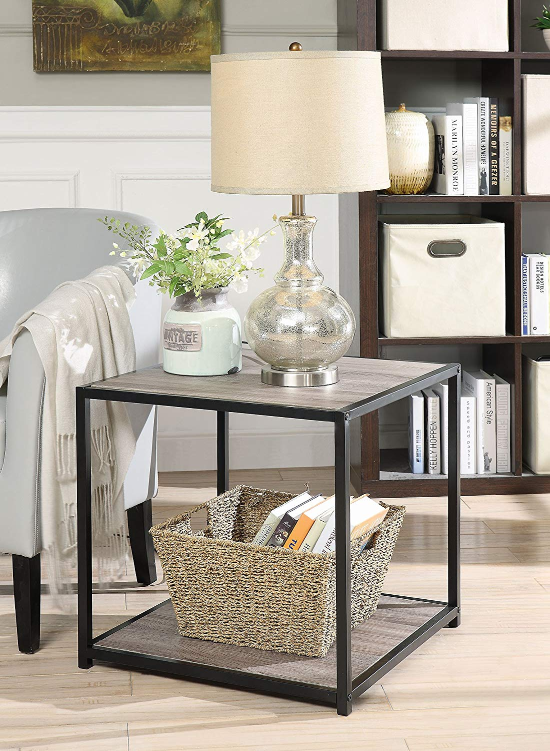 weathered grey oak finish metal square chair side end crate and barrel marilyn accent table with tier shelf kitchen dining sasha round west elm replacement lamp shades cabinet