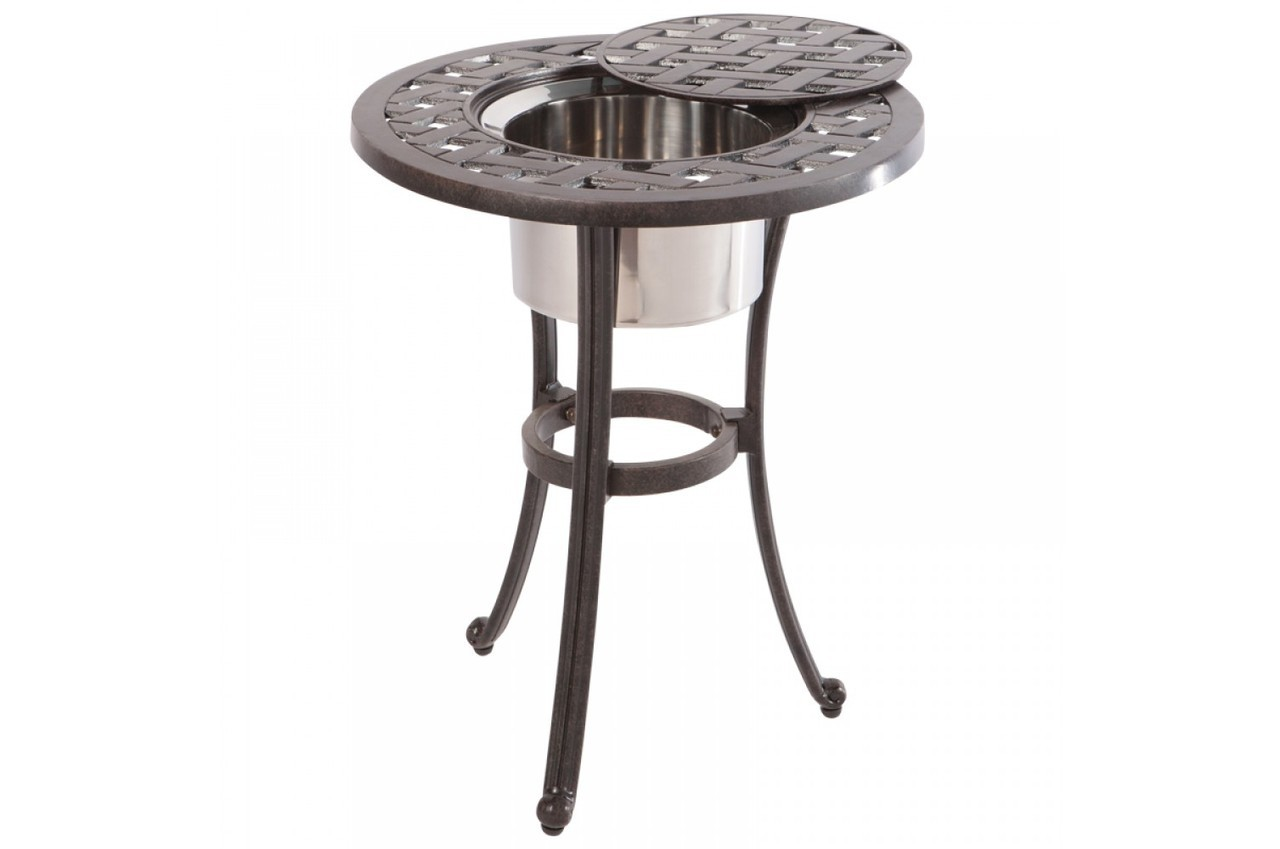 weave round beverage cooler side table with stainless steel bowl outdoor pottery barn mercury glass floor lamp mirror lights set coffee tables ikea toy storage cubes umbrella and