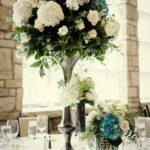 wedding ideas elegant reception centerpieces ivory hydrangeas teal accents table decorations with lanterns centerpiece candles for round tables weddings without flowers floating 150x150