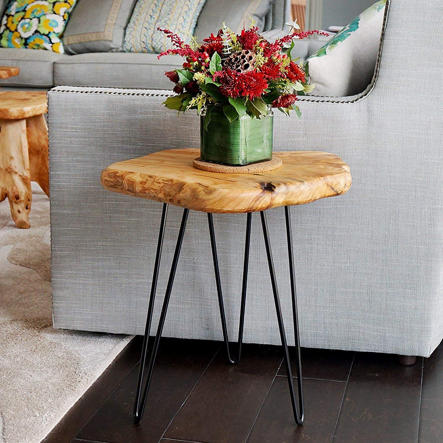 welland live edge side table with hairpin legs natural wood slab accent small nightstand tall home kitchen battery operated lamp low contemporary coffee tables couch house lamps