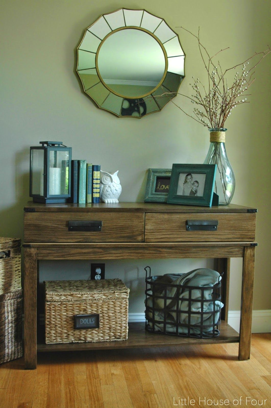 west elm inspired homegoods table makeover for the home house living room accent ideas stain metal accents and custom made bin pulls over this find resemble red entryway glass