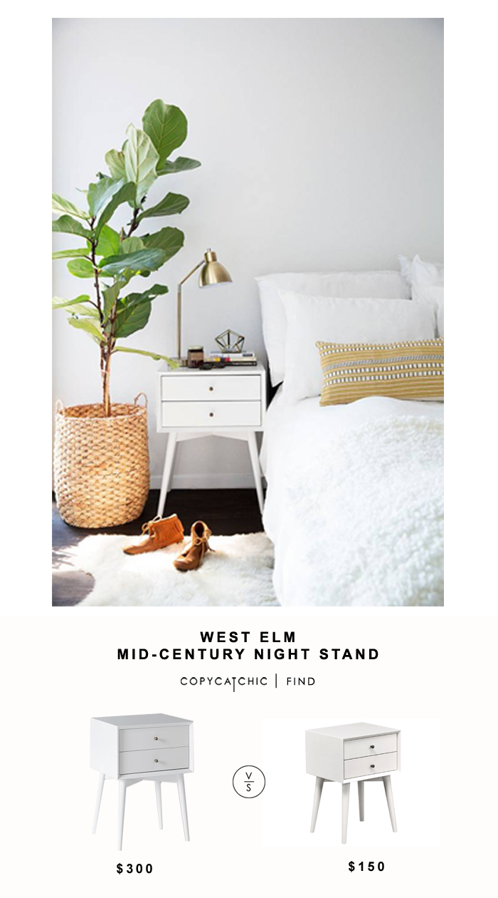 west elm mid century nightstand copycatchic updated sidetable alton accent night table for living spaces white vintage marble top luxury lamps coffee desk with drawers italian