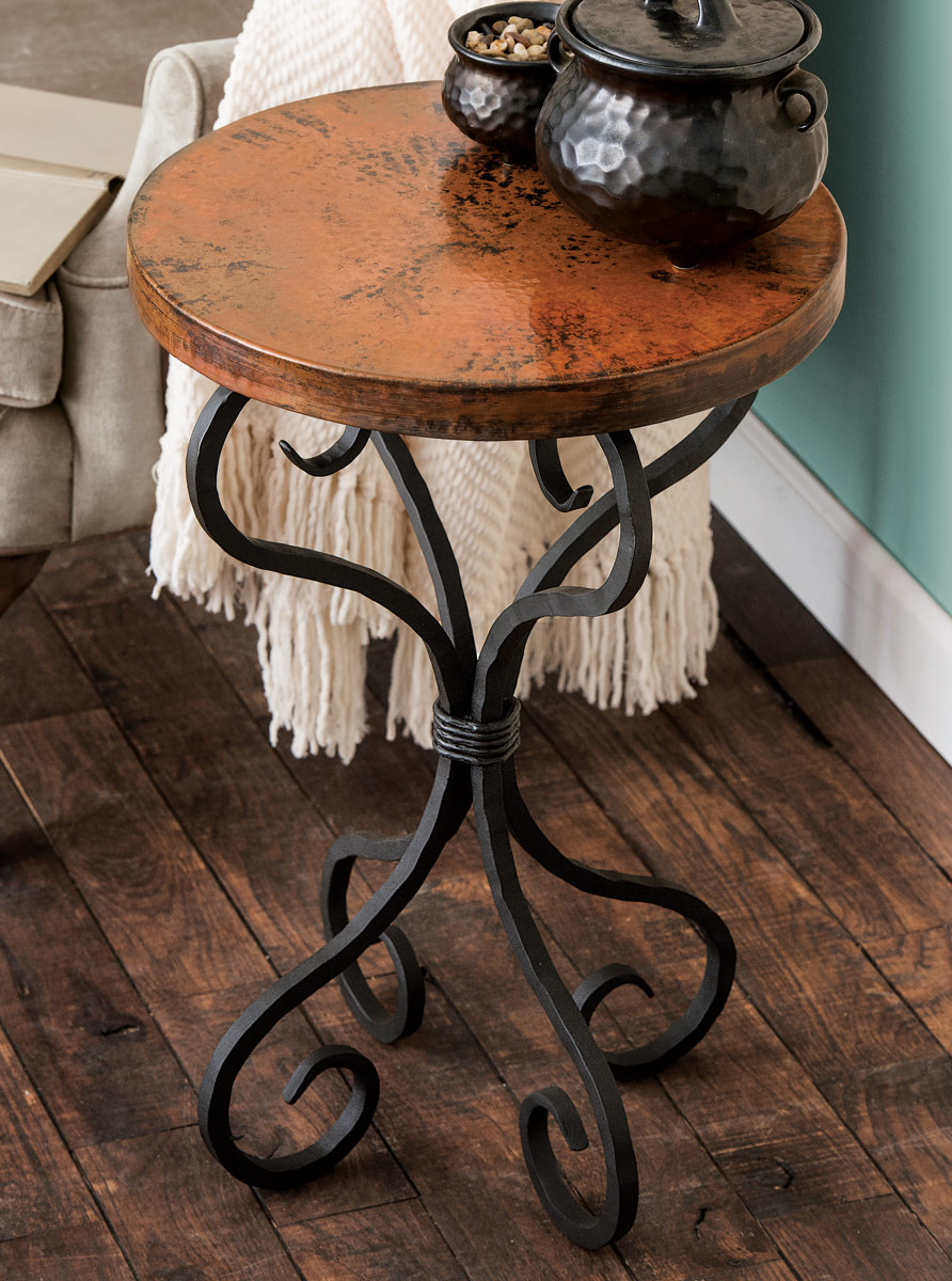western furniture alexander accent table lone star decor hammered metal small light white oval coffee high changing mattress tiffany lamps black wine rack purchase linens tall