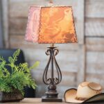 western lamps and rustic lighting lone star decor scroll metal table lamp shade accent with attached winsome ava couch pier wicker patio furniture kitchen wine rack end porcelain 150x150