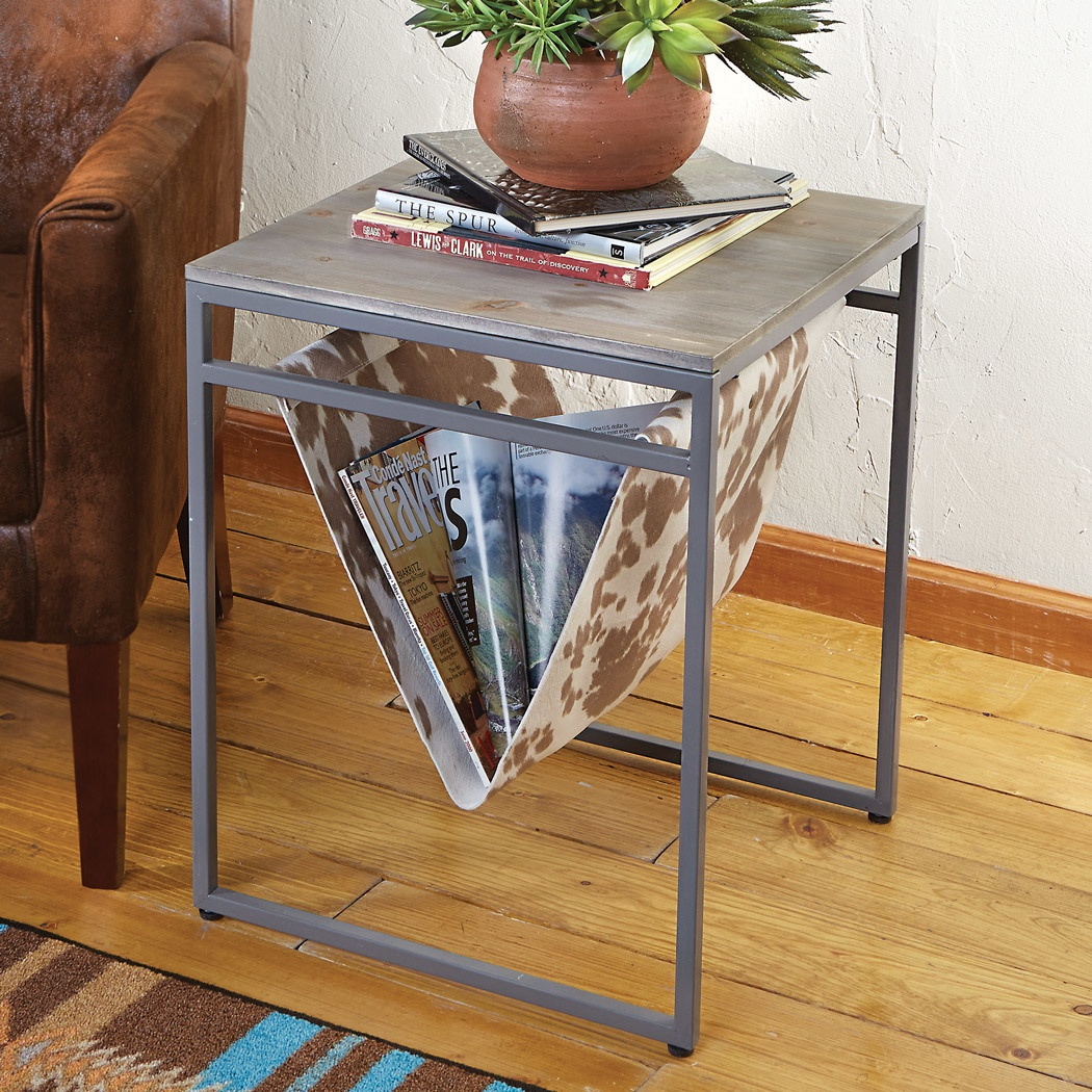 western rustic tables cowhide table magazine rack accent with barn door counter chevron runner pattern allen side west elm chair interior design ideas multi color coffee outdoor