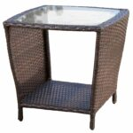 weston outdoor wicker side table with glass top christopher knight home brown free shipping today black and white decorations large round dining dale tiffany dragonfly lily lamp 150x150