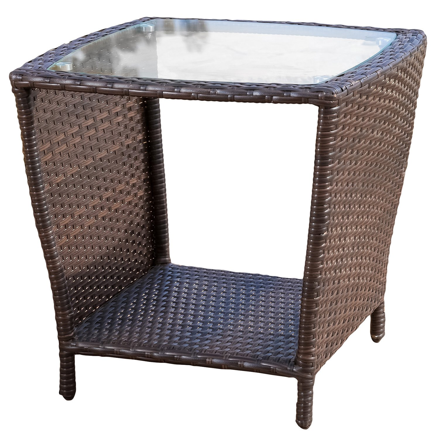 weston outdoor wicker side table with glass top christopher knight home brown free shipping today black and white decorations large round dining dale tiffany dragonfly lily lamp