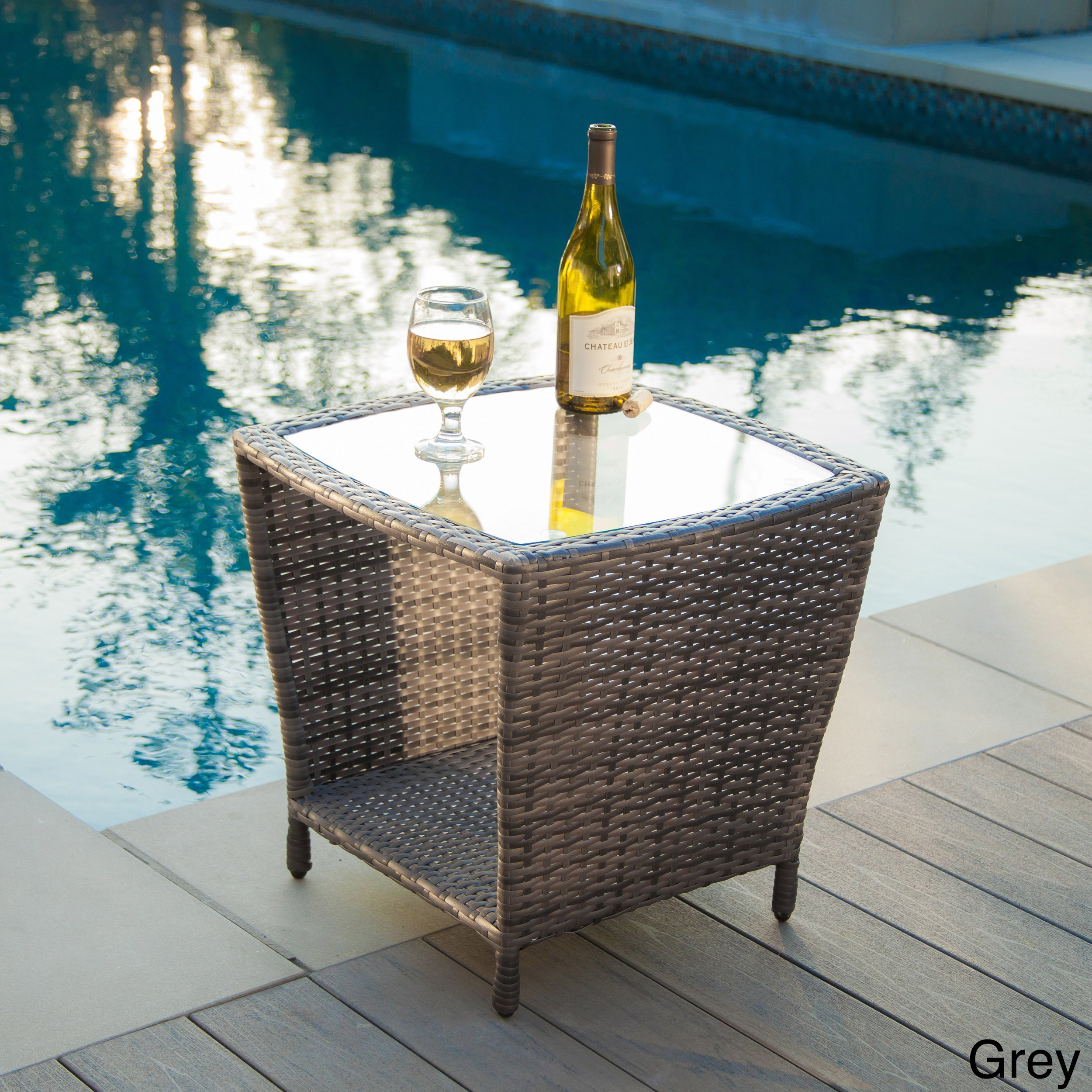 weston outdoor wicker side table with glass top christopher knight home free shipping today gold square coffee circular stacking tables kohls dishes industrial lamp storage west