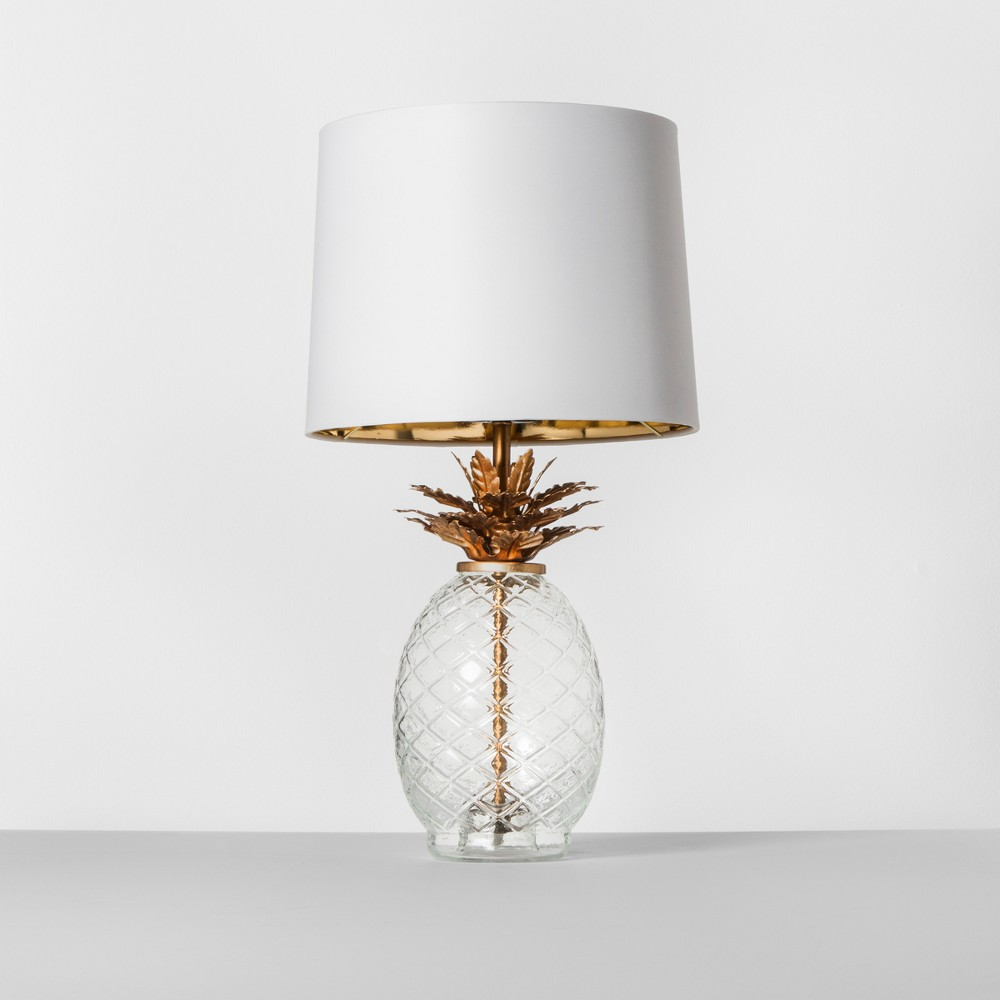 what love about opalhouse target eclectic chic blog side table glass and brass pineapple lamp how freakin cool this need one these for living room that made over last fall white
