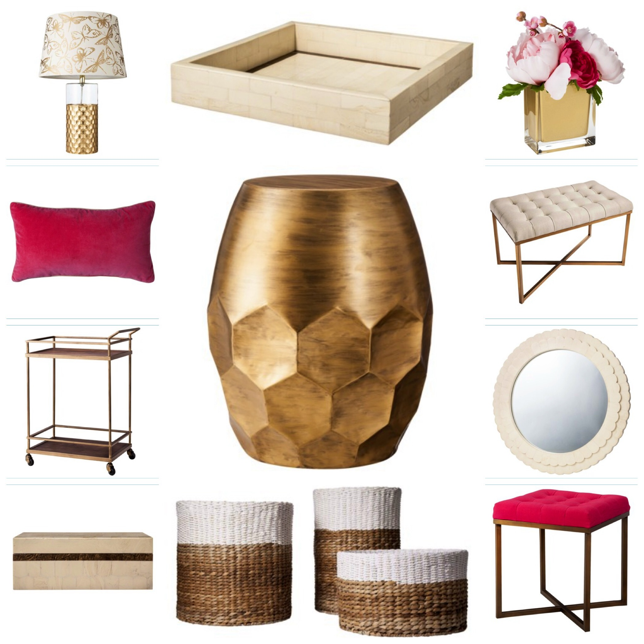 what your threshold new spring collection for target out scalloped accent table honeycomb gold foiled lamp with butterfly shade faux shell inlay tray ranuculus peony vase tufted