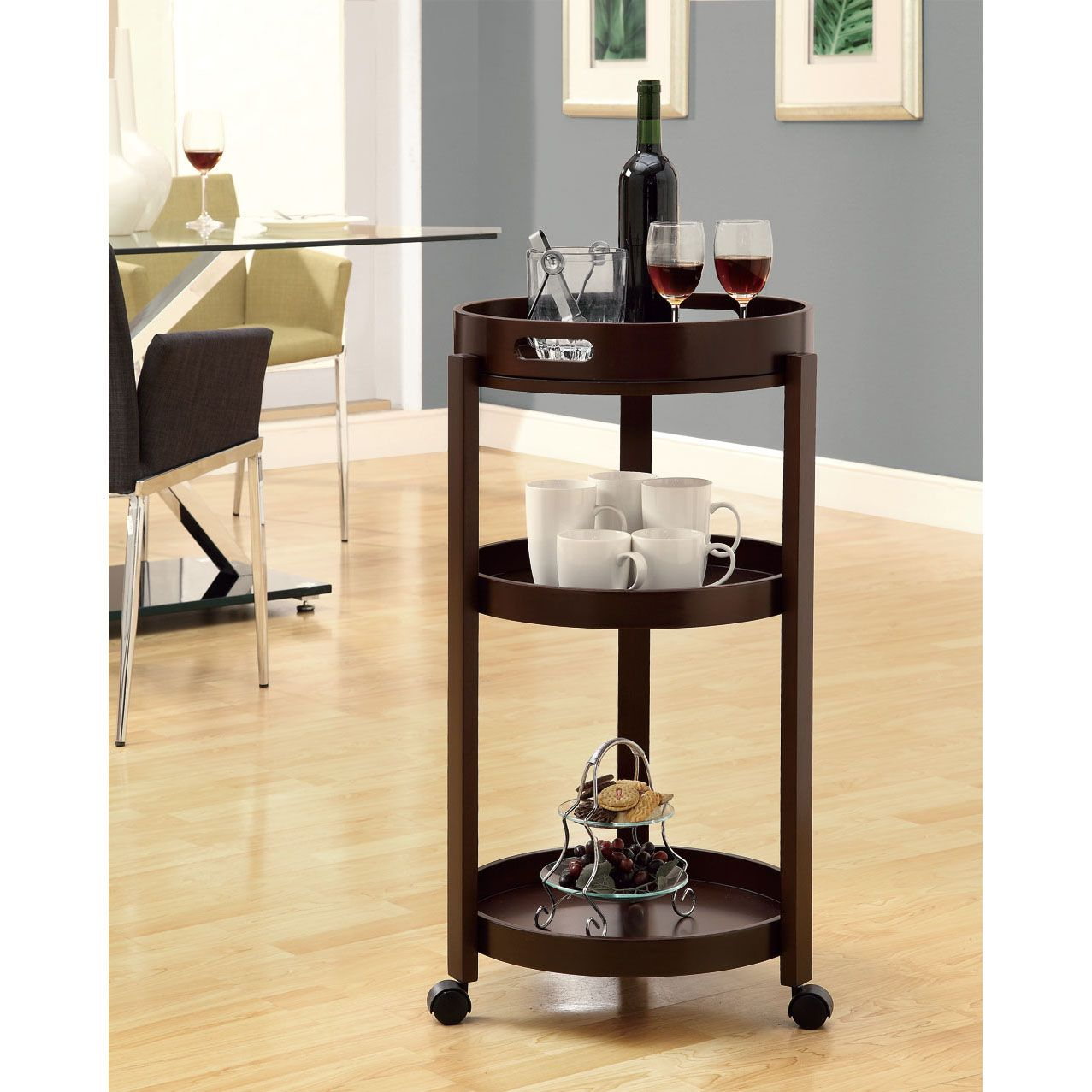 when you not using this rolling bar cart for serving drinks tier accent table target guests functions versatile side its cappuccino finish and three tiered rectangular patio