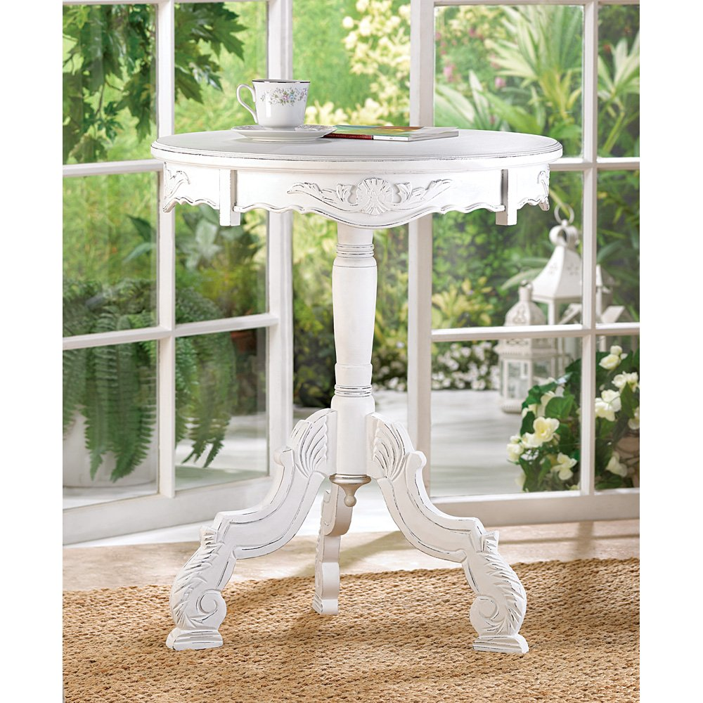 white accent table round rococo style rustic wood modern french tables living room vintage high top kitchen and chairs glass mirror coffee hiend accents whole linens outdoor metal