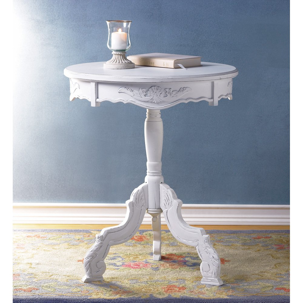 white accent table round rococo style rustic wood vintage tables lighting lamps wicker patio and chairs diy legs ideas pottery barn kitchen battery powered led lamp adjustable