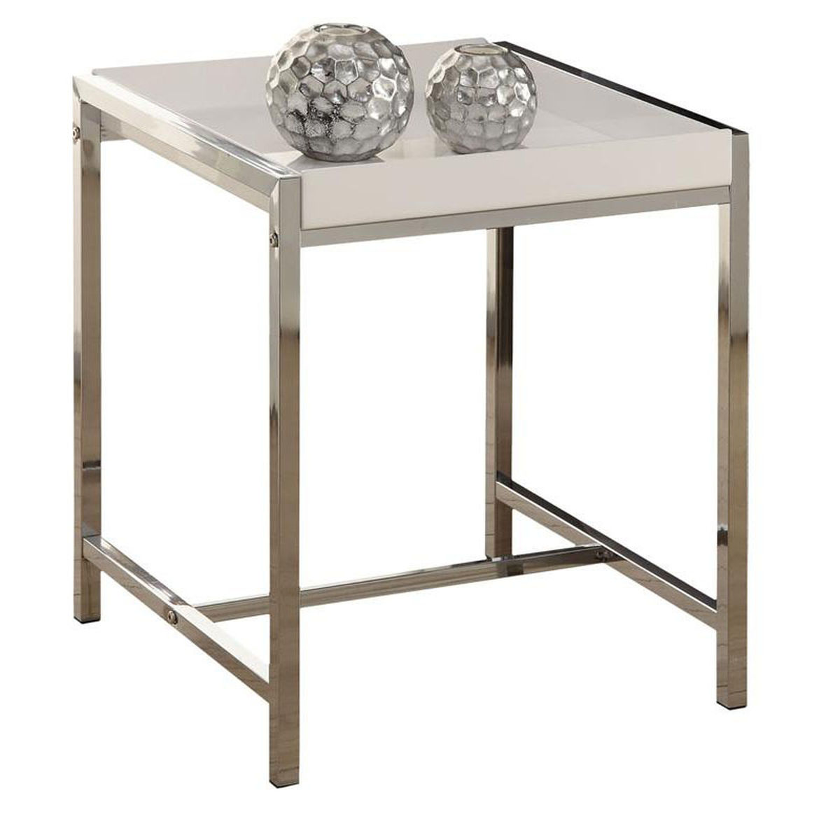 white acrylic top accent table bizchair monarch specialties msp main our chrome with all glass side garden chairs set tall round kitchen wedding covers wood stump nautical rope