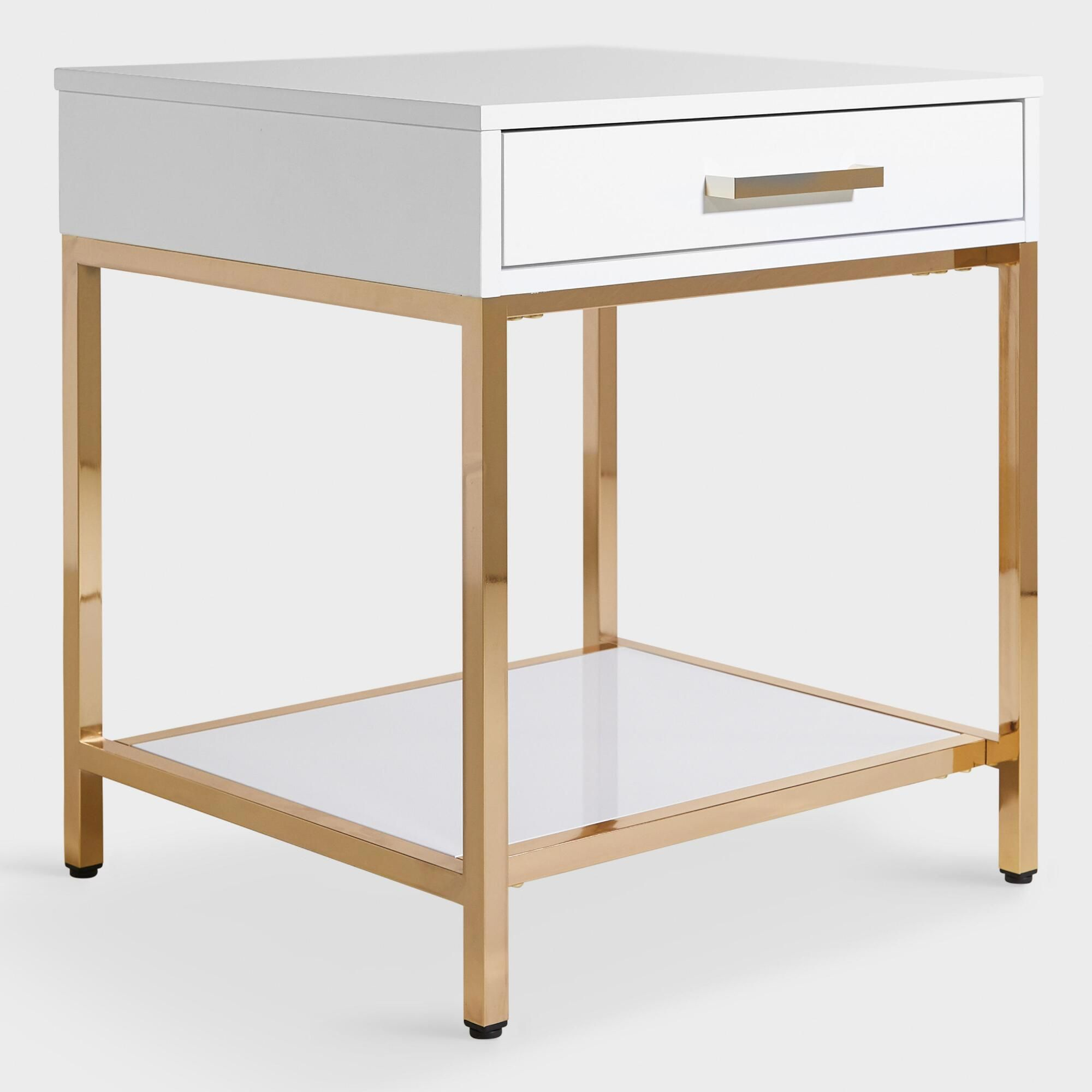 white and gold reid accent table with drawer world market furnitureworld metal dining room chairs pier one outdoor pillows book stand patio coffee storage long champagne mirrored