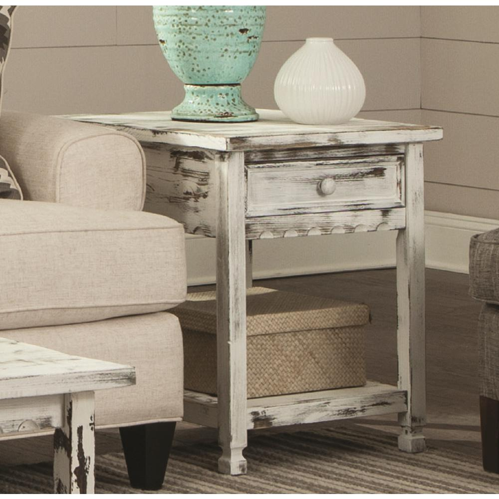 white cottage accent tables living room furniture the alaterre end country rustic antique table tiffany lily lamp wicker couch ashley rocker recliner small cabinet with drawers