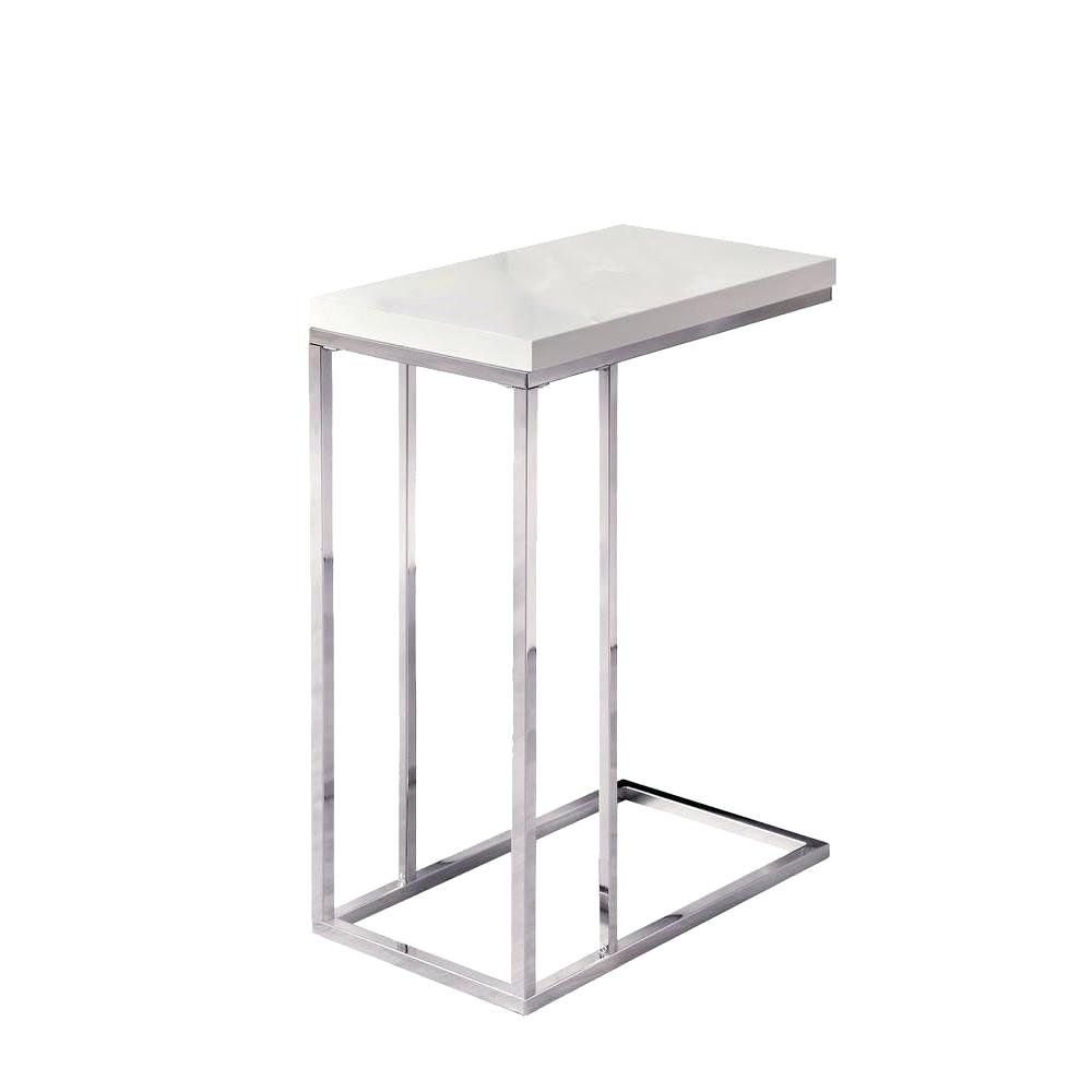 white end table monarch specialties accent chrome with glossy top the and chairs set mirrored cast aluminum patio side real wood carved console wicker target cream bedside drawers