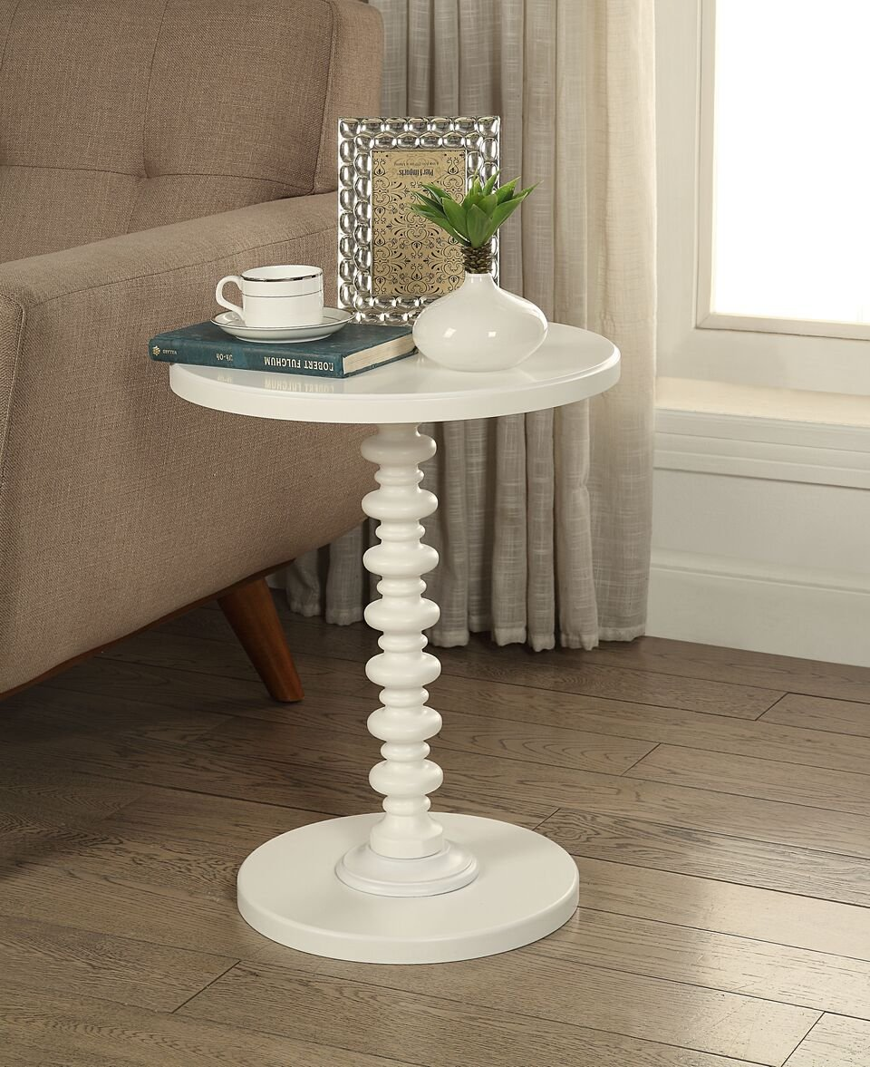 white finish wooden round spindle chair side end wood accent table pedestal kitchen dining coffee tables three piece matching pair lamps kartell chairside black patio plastic