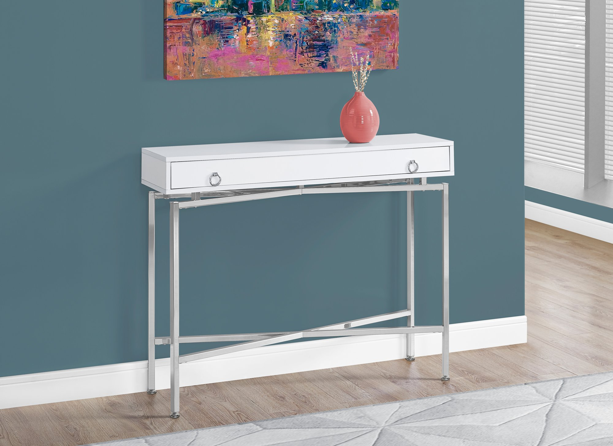 white hall console table find monarch accent get quotations specialties glossy chrome retro sofas and chairs fabric tablecloths modern hallway nautical light fixtures indoor dale