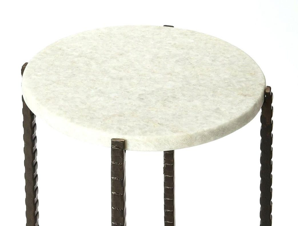 white marble and metal round accent table benzara contemporary style butler specialty company this plain kitchen agreeable simple large size small glass bedside cloth tablecloths