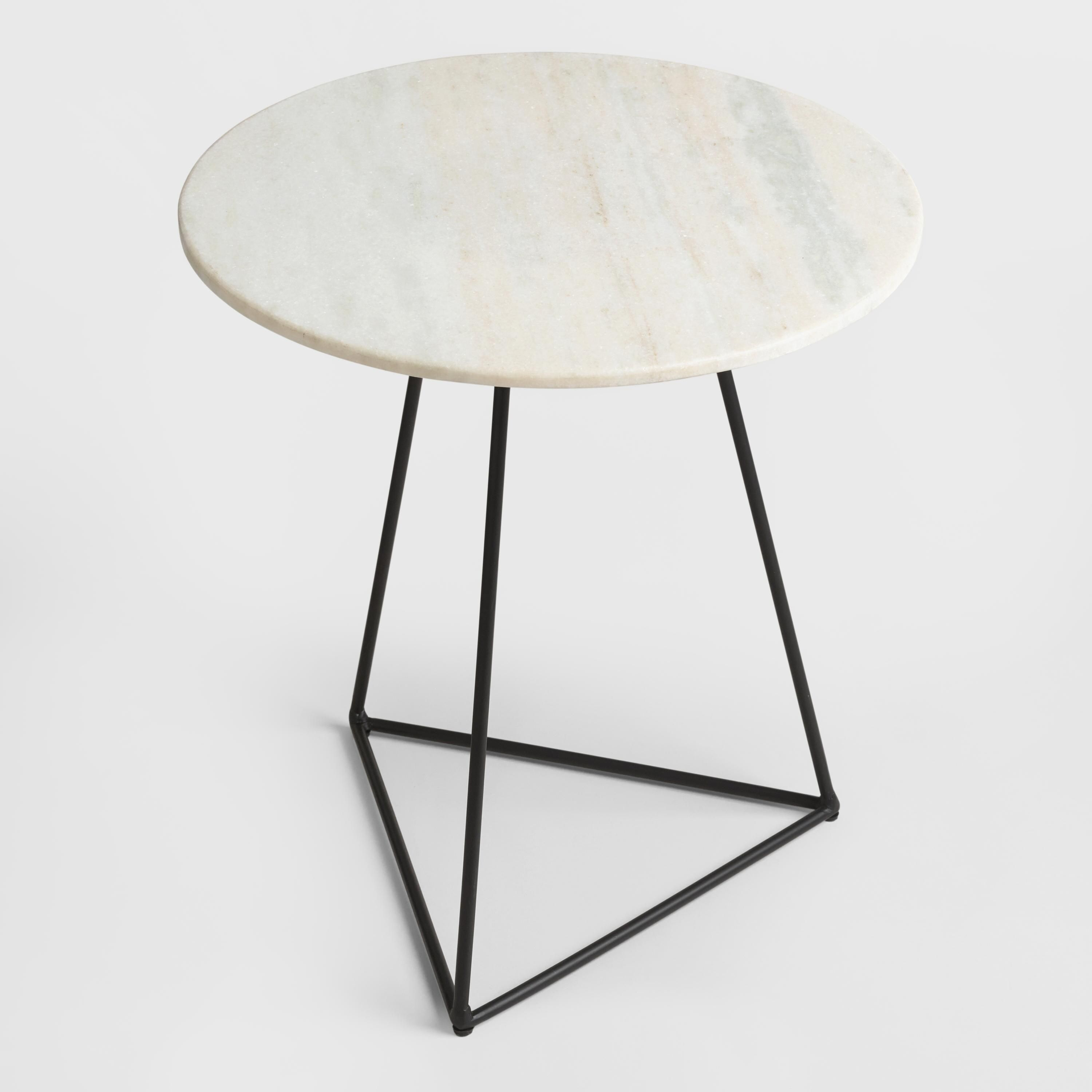 white marble and metal round accent table tables bistro world market lamp shades living room packages small chair hampton bay patio furniture cushions trunk green kitchen rod iron