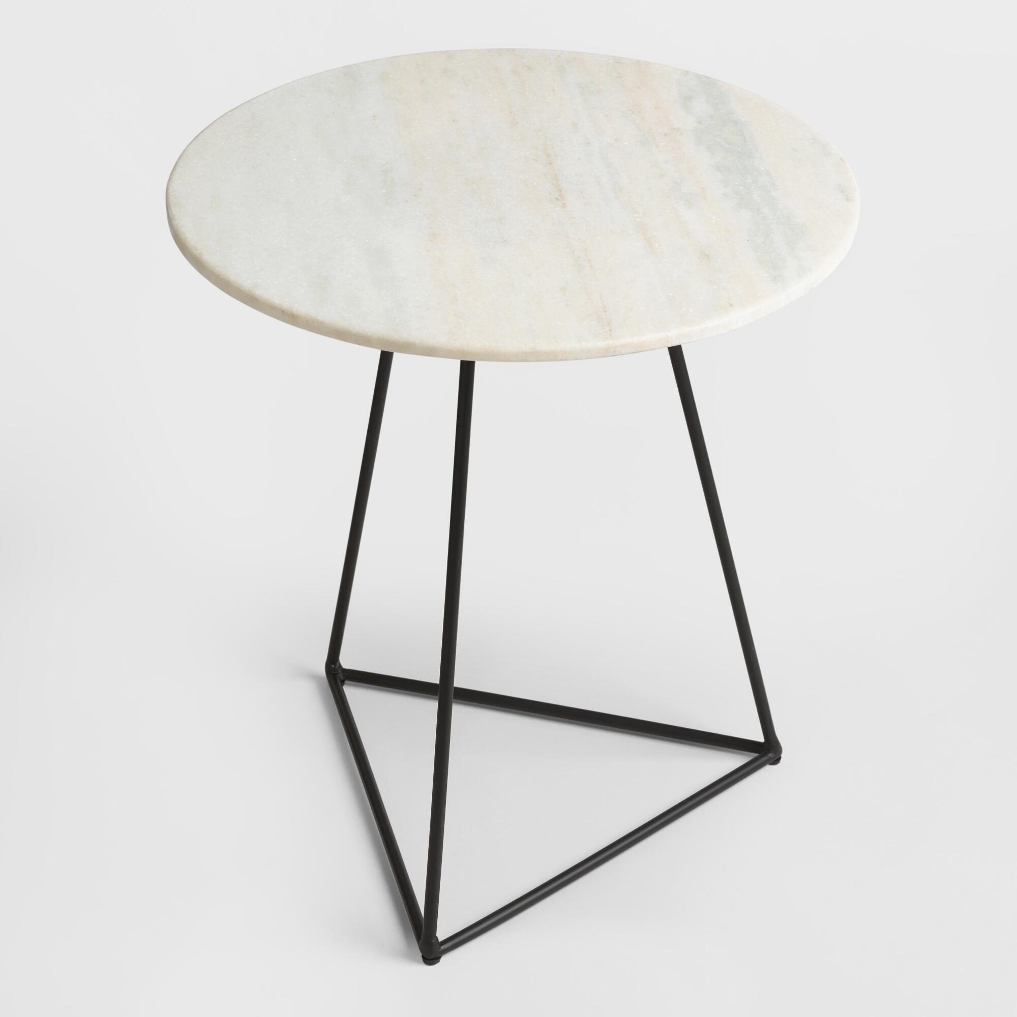 white marble and metal round accent table world market products black kmart furniture bedroom counter high dining room sets lamps under ethan allen top bar height chairs chair