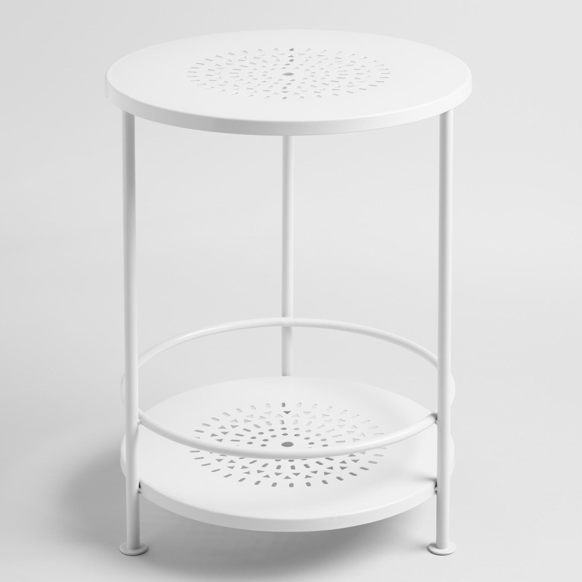 white metal marisol outdoor patio accent table world market circular cover black lamp shades furniture cabinets inch legs glass bedroom end tables drum stool with back round and