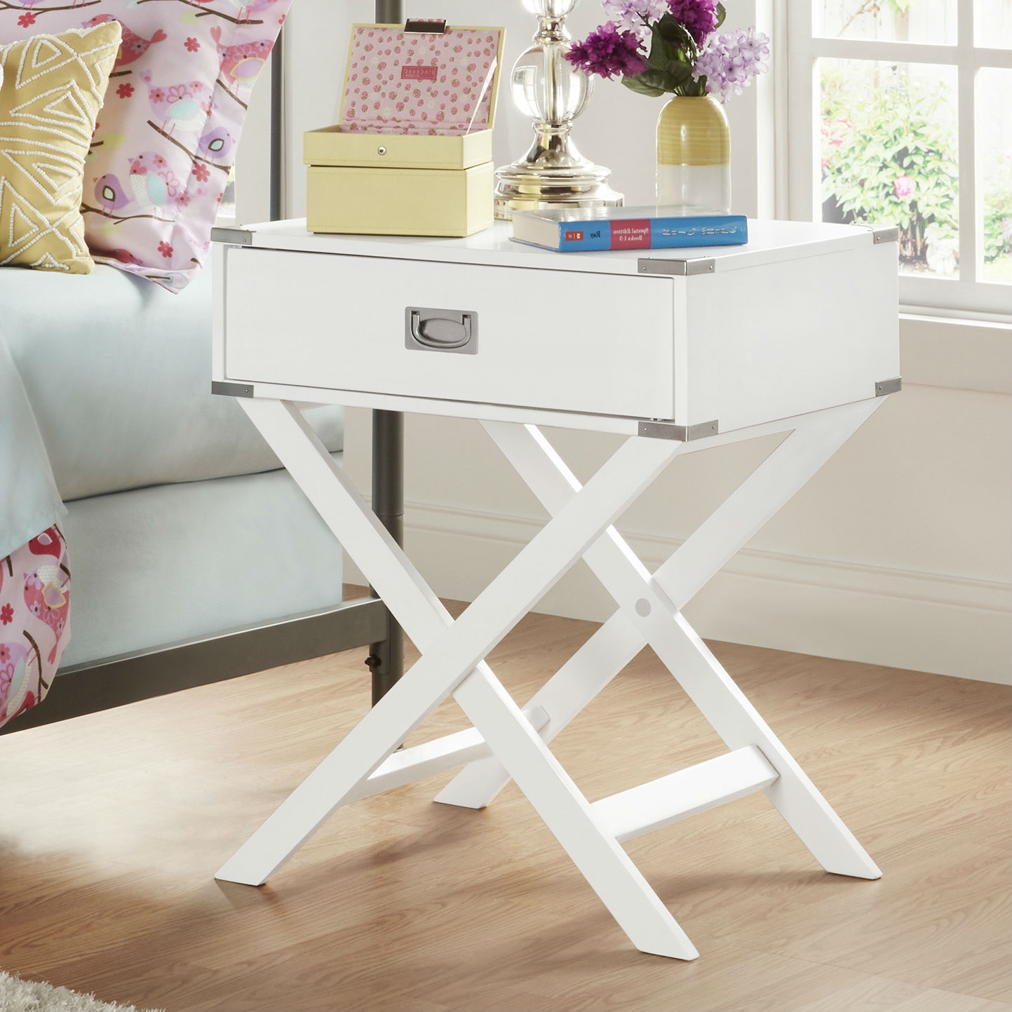 white modern bedroom decor drawer bedside table nightstand end accent with cool living room tables oblong tablecloth sizes desk trestle legs small wood and metal coffee target