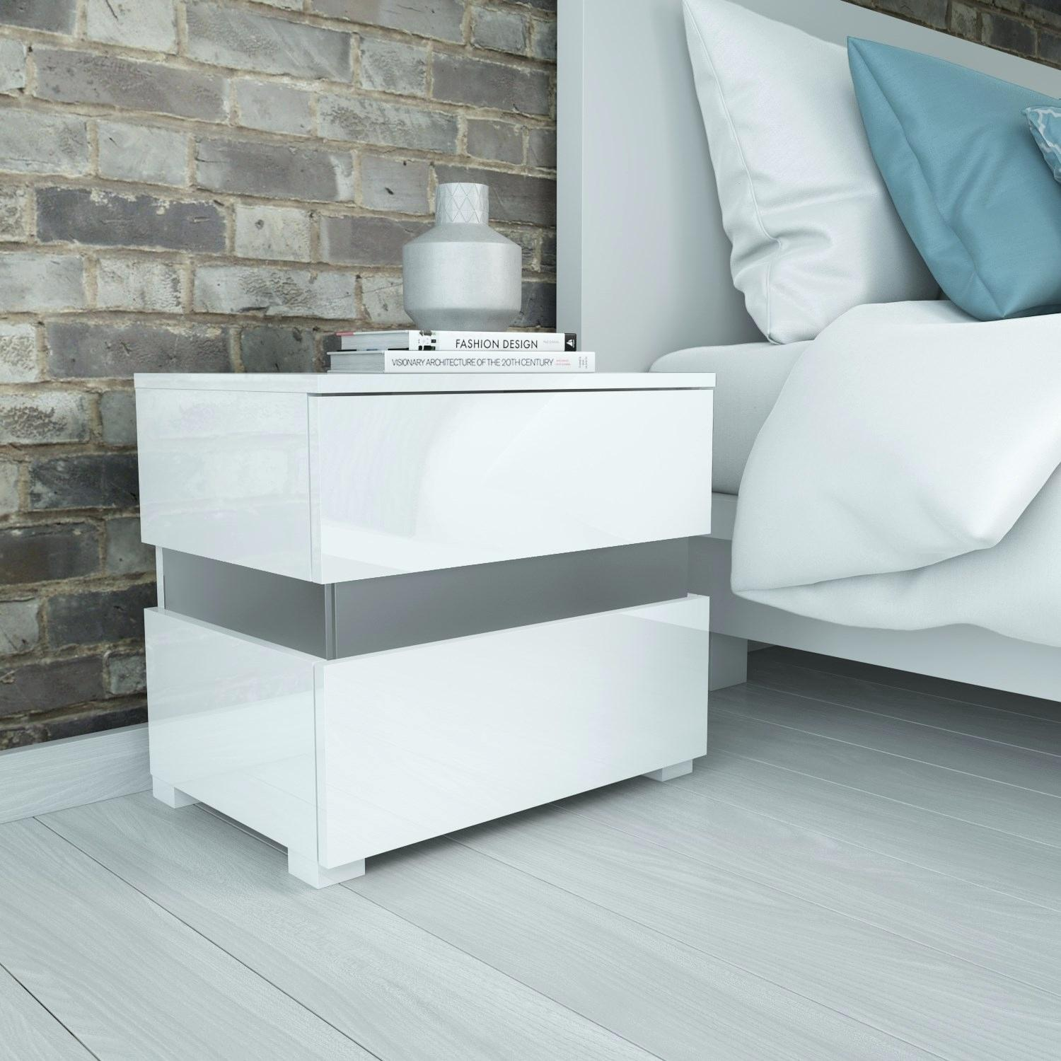 white nightstand table info sense high gloss bedside with led light modern accent ikea patio black drum side floor mirror sofa baskets solid oak threshold marble dining meyda