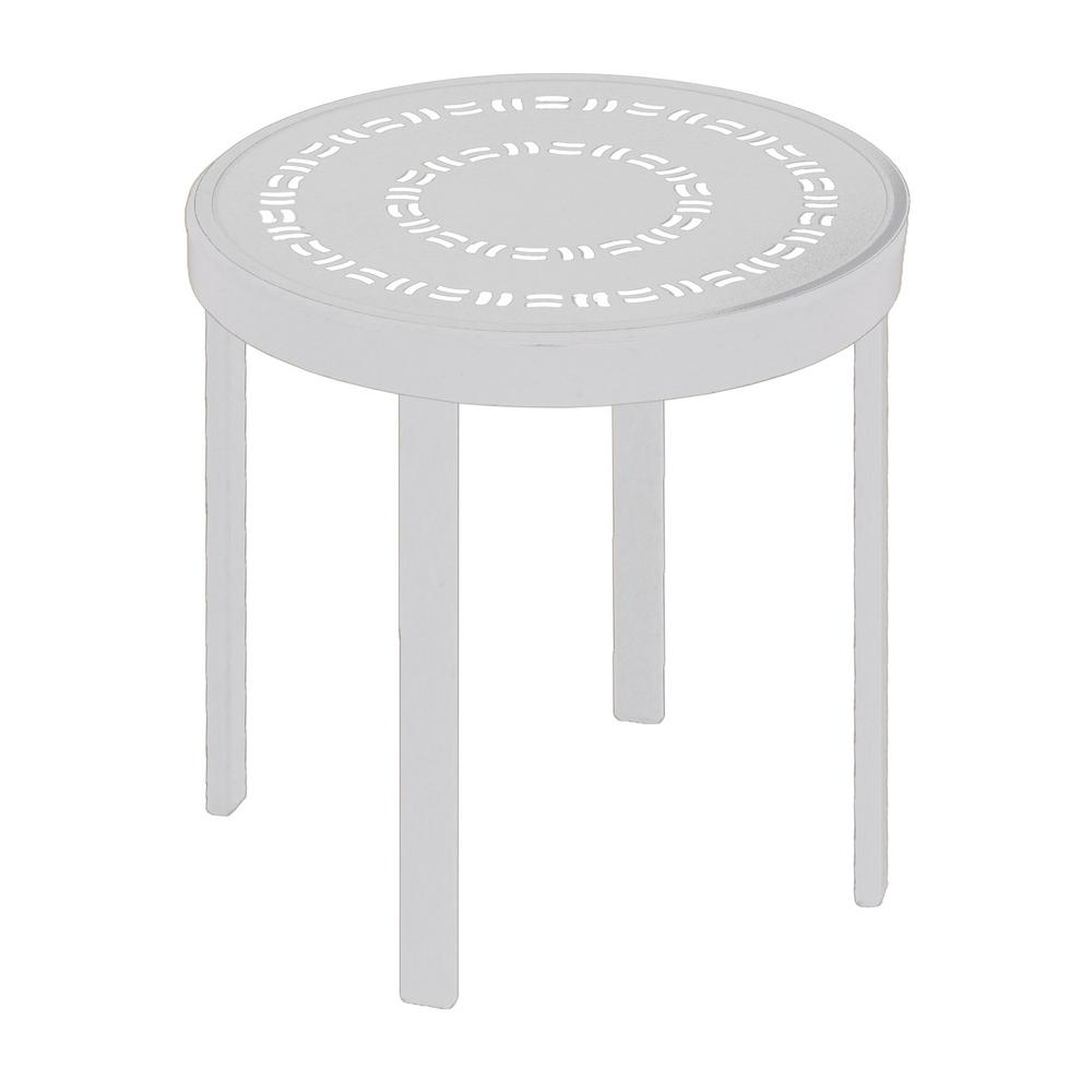 white outdoor side tables patio the round accent table commercial aluminum dining room runners pneumatic drum throne hampton bay furniture cushions west elm wood coffee retro