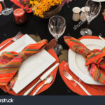 white plates black table cloth accent stock edit now and the thanksgiving autumn linens deck cover diy end ideas pier dining room knotty pine bookcase console behind couch grey 150x150