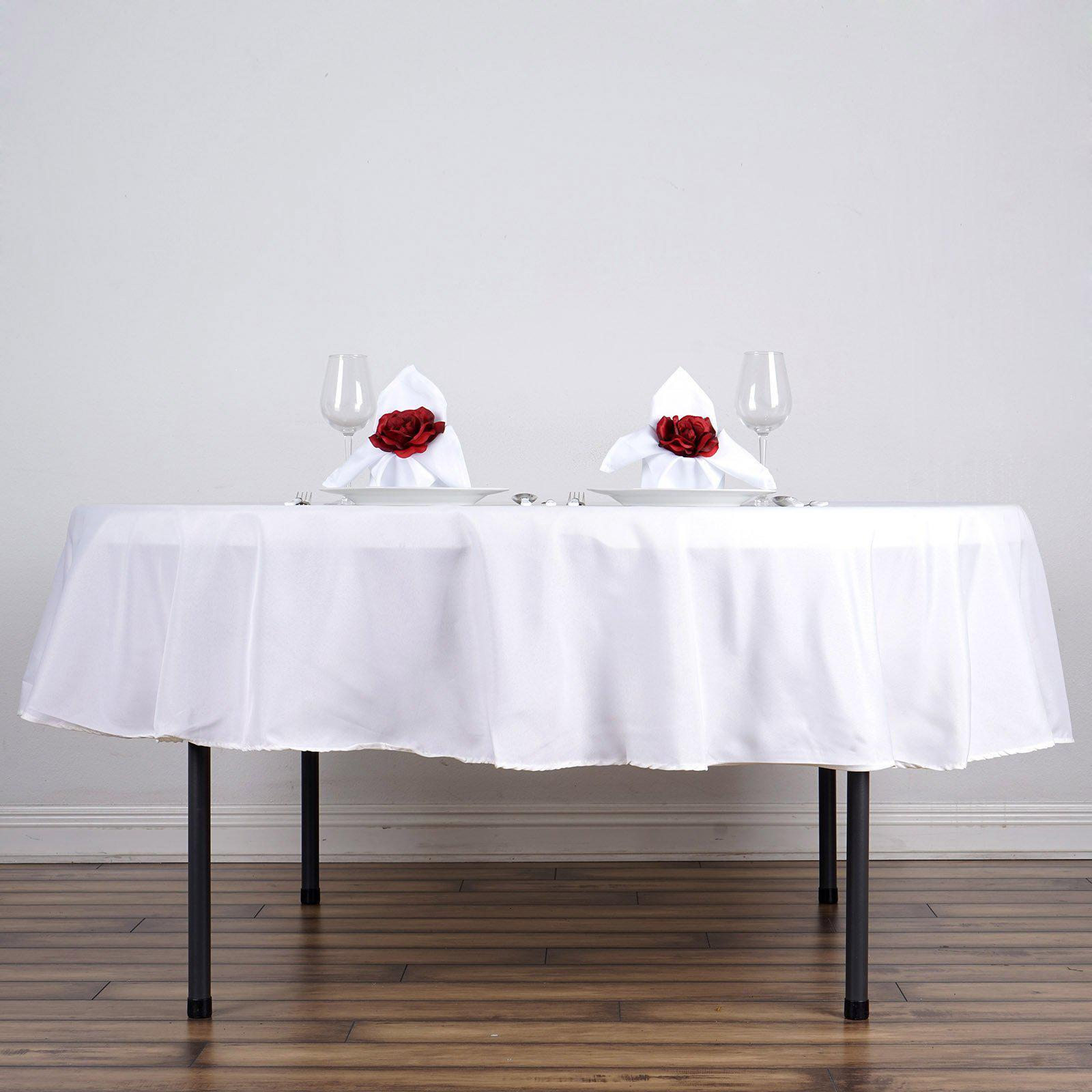 white polyester round tablecloth tablecloths factory tab wht poly accent table with placemat extra tall target peekaboo acrylic coffee inch height end bedroom side tables rod