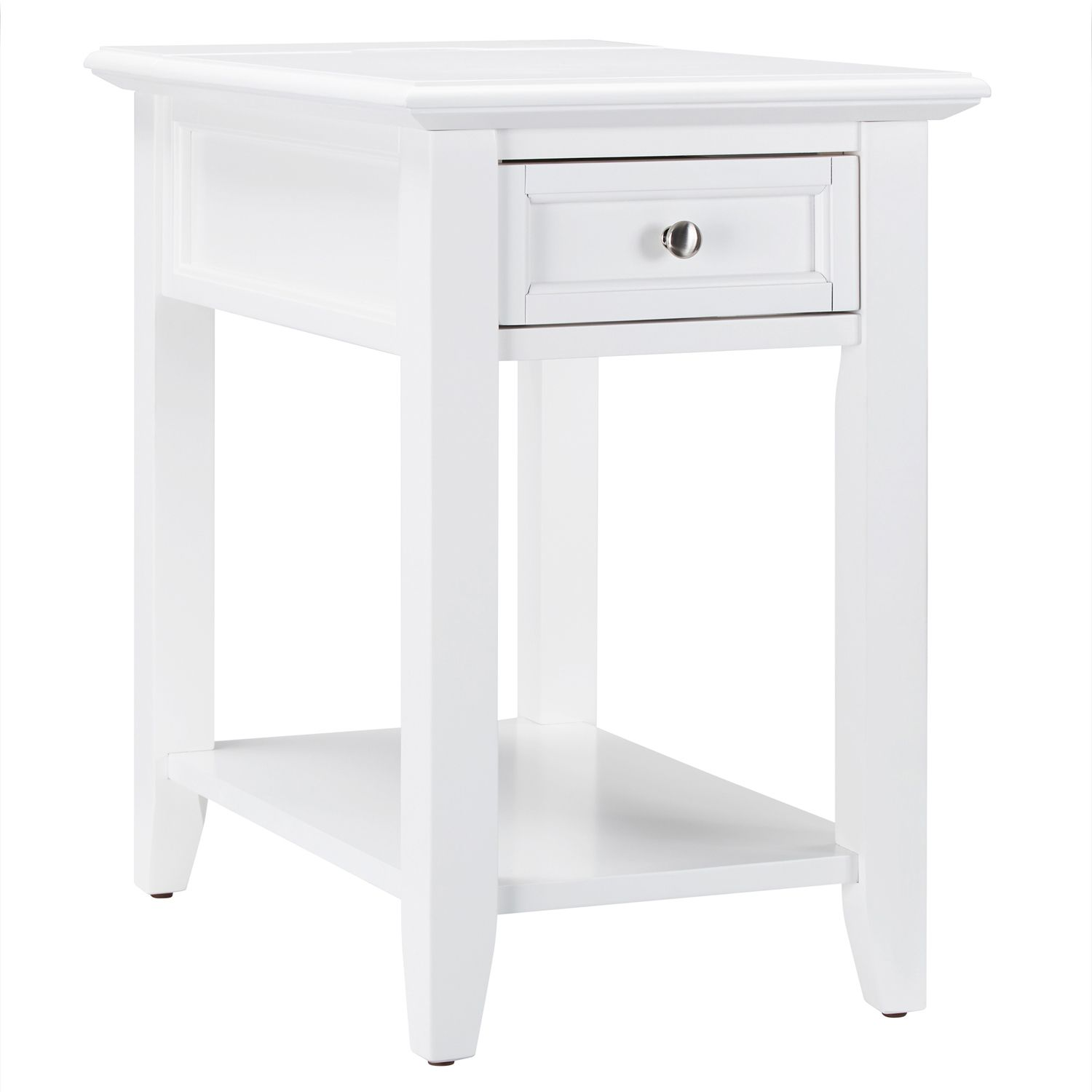 white single drawer end table with power strip living room accent bedroom tables dark oak side shell lamp coffee bar pub set pottery barn dining chairs gold decor black nest