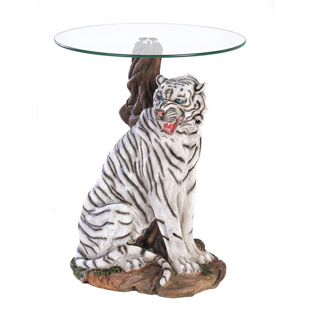 white tiger accent table ceramic giftspiration furniture end tables butcher block nautical porch lights rustic dark wood coffee cast aluminum outside patio modern small cocktail