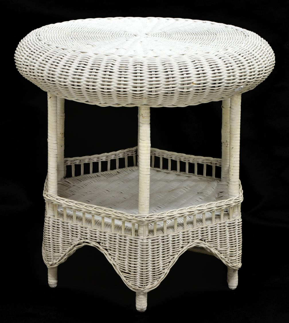 white wicker outdoor side coffee table with baskets brown leather accent chair dorm room furniture marble stone home office desk hairpin legs large drop leaf tables for small