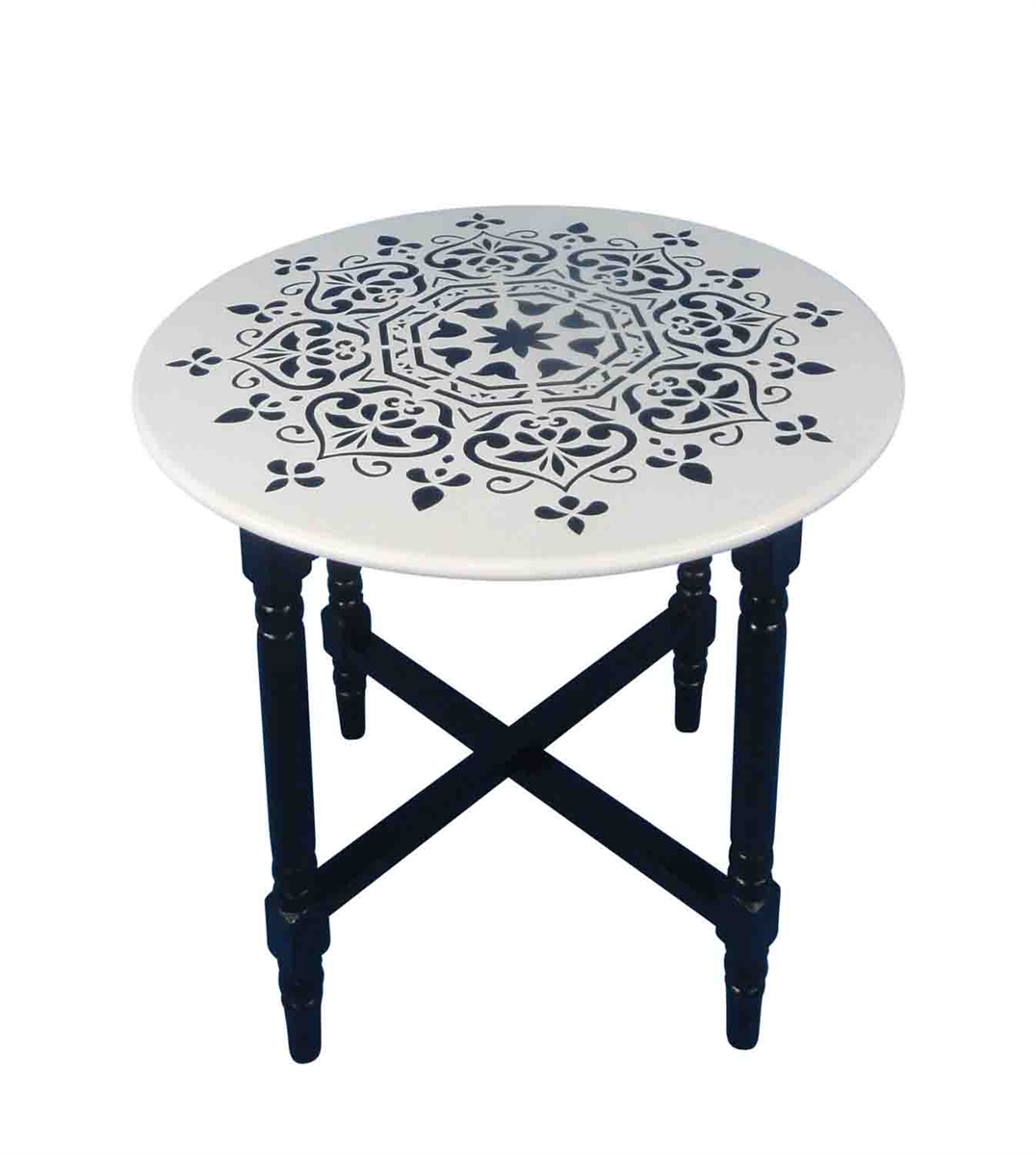white wood accent table black mandala sagebrook home half for hallway counter height side nautical themed silver runner large wall clock italian marble coffee antique round top