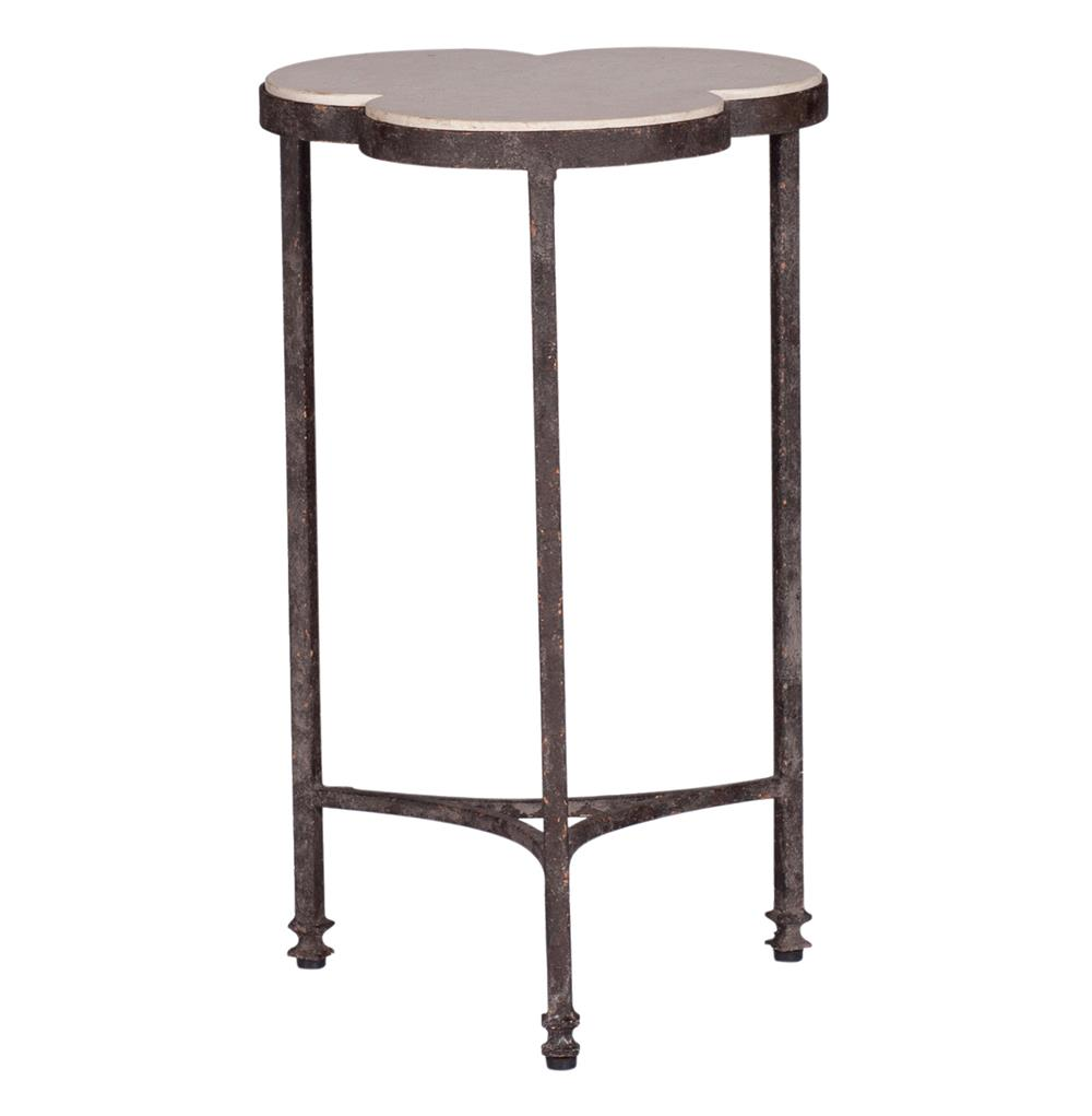 whitman modern classic rustic limestone clover iron accent side table product round glass top view full size living room interior design chinese porcelain lamps tall console blue