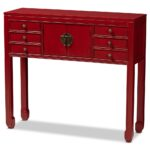 whole console table living room furniture accent with drawers baxton studio melodie classic and antique red finished wood bronze accents drawer ocean decor family dining cover set 150x150