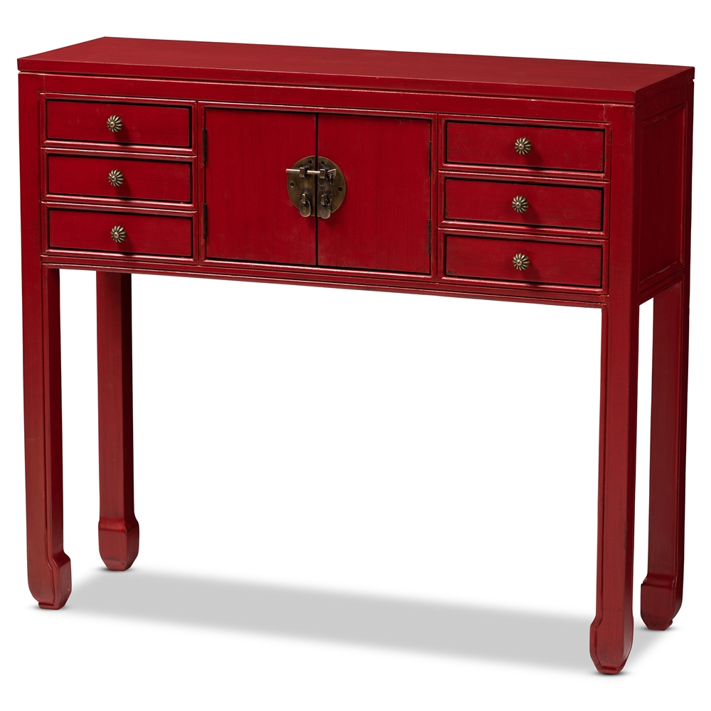 whole console table living room furniture accent with drawers baxton studio melodie classic and antique red finished wood bronze accents drawer ocean decor family dining cover set