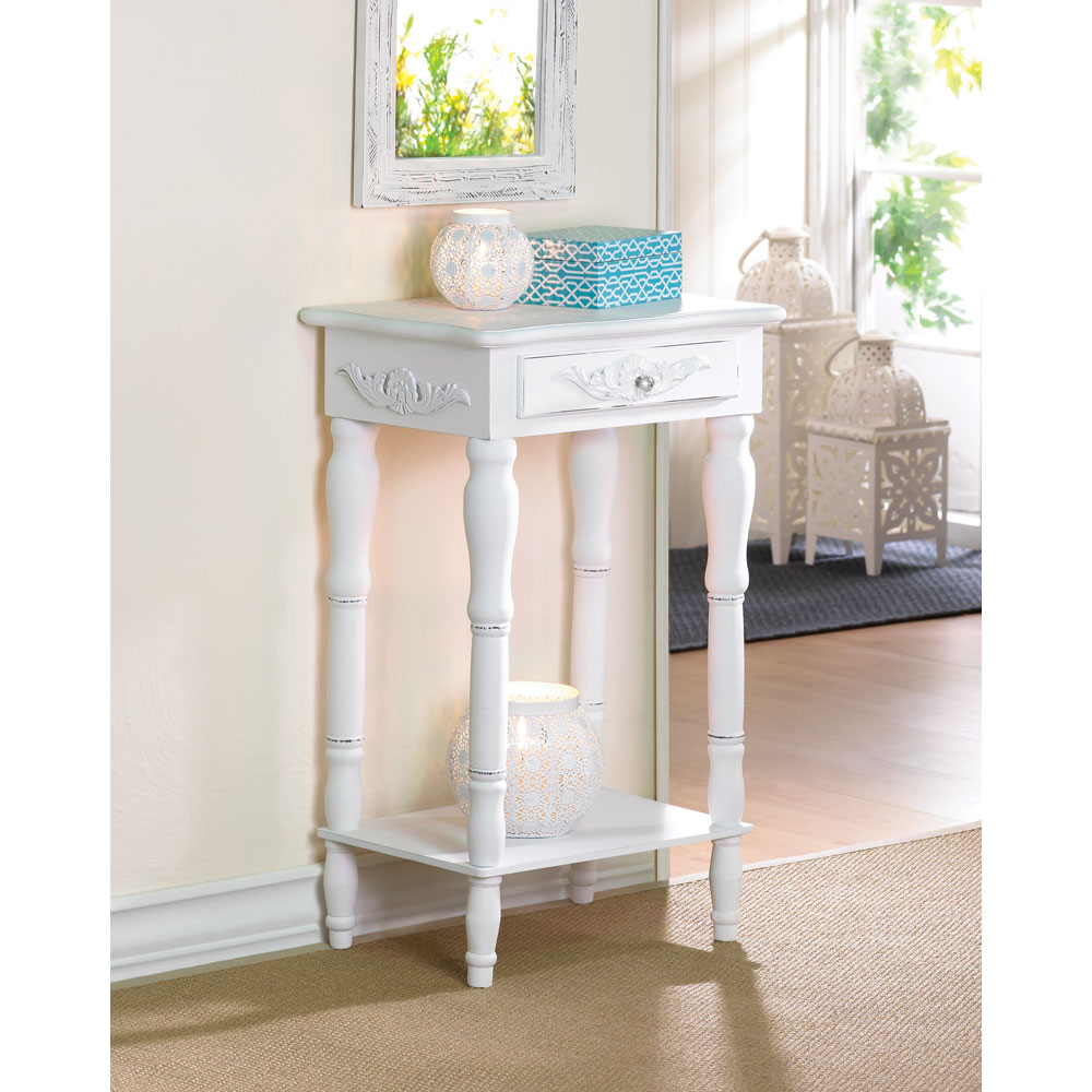 whole distressed white wood carved side table tables accent telephone shaped executive desk tiffany rooster lamp wicker lawn furniture glass and metal coffee kitchen chairs