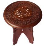 whole hand carved leg stand round wooden accent table with sheesham wood bulk decorative detachable dale tiffany butterfly lamp mosaic garden dining black glass nightstand metal 150x150