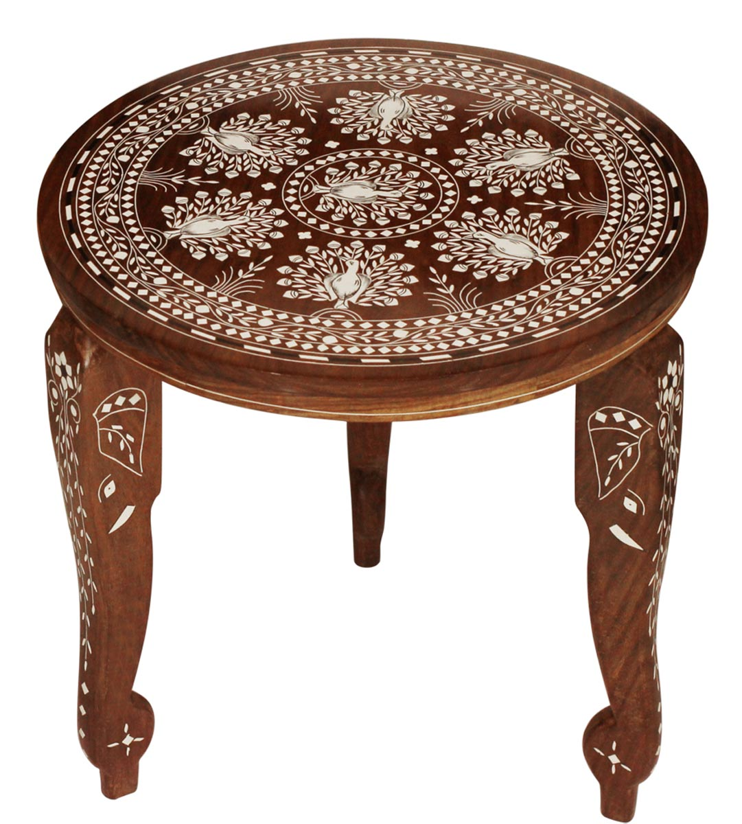 whole leg stand round wooden accent table with removable legs peacock motifs ikea shelves pottery barn mahogany coffee farmhouse dining globe lamp wine rack kitchen marble side