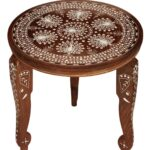 whole leg stand round wooden accent table with removable natural wood legs peacock motifs meyda lighting metal home decor magnetic lamp small desk hutch trestle chairs blue ashley 150x150