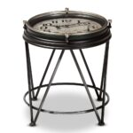 whole living room tables furniture vintage metal accent table baxton studio giles industrial matte black finished with inlaid clock small outdoor entryway storage square 150x150